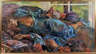 William Barnett (American, 1918-1992)  Reclining Figure