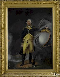 After Gilbert Stuart, oil on canvas, George Washington at Dorchester Heights, 19th c., 36'' x 26''.