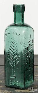 Emerald green bottle, impressed L.Q.C. Wishart's Pine Tree Tar Cordial 1859, 7 3/4'' h.