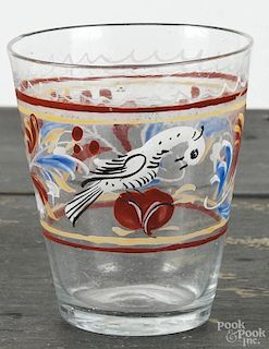 Stiegel type enameled, blown glass tumbler, 19th c., with bird and floral decoration, 4'' h.