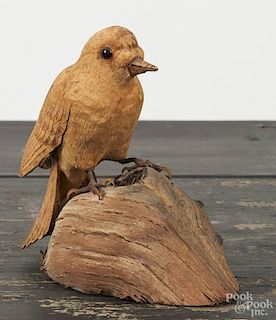 Carved song bird, initialed N '83, on a stump, 5'' h.