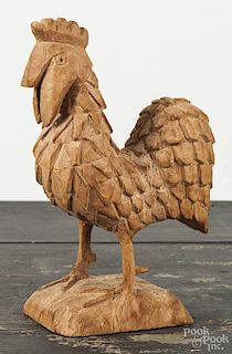 Carved balsa wood rooster, 20th c., 7 1/2'' h.