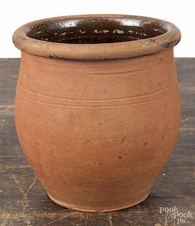 Lineboro, Maryland redware crock, 19th c., impressed L. Kopp, 5 1/2'' h.