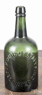 Katalysine Gettysburg, Pennsylvania emerald green water bottle, late 19th c., 9 1/2'' h.