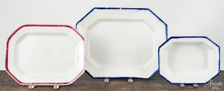 Two Leeds feather edge platters, 19th c., 13 1/2'' w. and 16 1/2'' w., together with a Leeds feather e