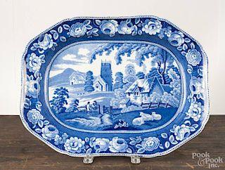 Staffordshire blue transfer platter, 19th c., with an English bucolic landscape scene, 17'' w.