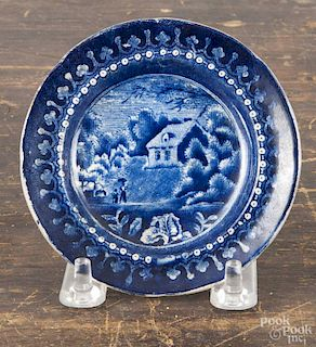 Staffordshire blue transfer cup plate, 19th c., with an English cottage scene, 3 3/4'' dia.