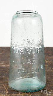 The Van Vliet Jar of 1881, aquamarine canning jar, 8 3/4'' h.