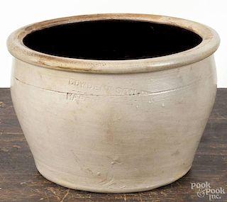 Harrisburg, Pennsylvania stoneware crock, ca. 1900, impressed Cowden & Son Harrisburg PA, 6'' h.