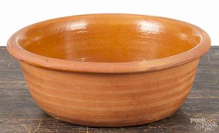 Pennsylvania redware bowl, 19th c., attributed to Solomon Miller, Hampton Pennsylvania, 4'' h., 10 1/