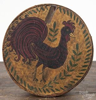 Bentwood pantry box, 19th c., with a later painted rooster decoration, 3 1/2'' h., 8'' dia.
