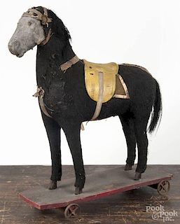 Horse pull toy, 19th c., 16 1/2'' h., 13 1/2'' l.