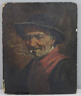 Singed 19th C. Oil on Panel. Man Smoking a