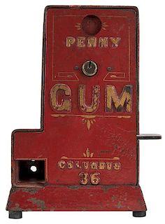 "Columbus Vending Co. 36 ""Penny"" Tab Gum Vendor."