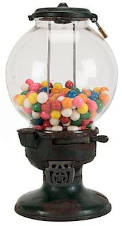 Columbus Vending Co. 1 Cent Model A Gumball Vendor On Stand.