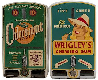 Two Kayem Products Co. Inc. 5 Cent Wrigley Gum Vendor and 10 Cent Chloro-Mint Tablets.