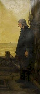 ARTZ, Adolph. Oil on Canvas. The Fisherman.