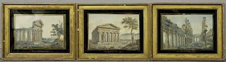 Set of 3 18th/19th C. Watercolor of Italian Ruins
