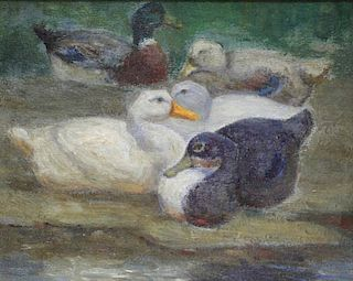 DOUGLAS, Walter. Oil on Artist's Board of Ducks.