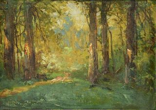CRANE. Early 20th C. Oil on Canvas Board. Forest