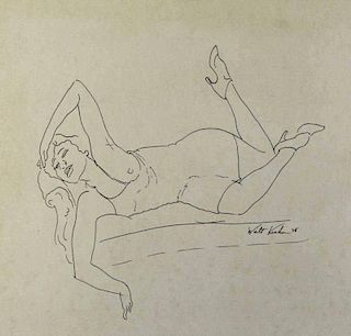 KUHN, Walt. Ink on Paper. Reclining Nude.