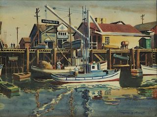 OLIVER, Myron. Watercolor. Harbor Scene.