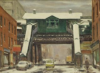 ASPLUND, Tore. Oil on Artist Board. Elevated Train