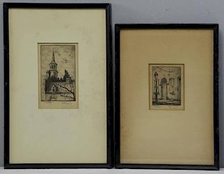 VERNER, Elizabeth O'Neill. Two Etchings.