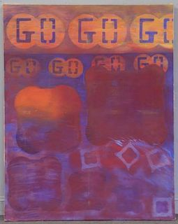 "SHULMAN, Morris. Alkyd Resin on Canvas ""Go Go Go""."