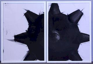 JEZIK, Enrique. Untitled Charcoal on Paper Diptych