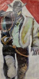 Very Large Contemporary Oil on Paper of a Cowboy.