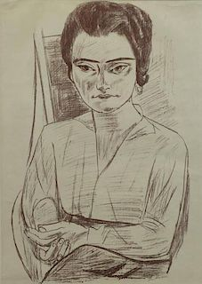 "BECKMAN, Max. Lithograph. ""Portrait of Mrs. H.M."""