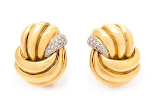 A Pair of 18 Karat Yellow Gold, Platinum and Diamond Earclips, Verdura, 19.10 dwts.