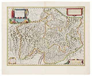 BLAEU, Willem (1571-1638) [MAPS OF SWITZERLAND]. 5 engraved maps hand-colored in outline. Amsterdam, ca.1640.