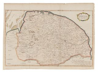 MORDEN, Robert (ca 1650-1703). Kent [with:] Norfolk. [London, ca 1695]. 2 hand-colored engraved maps.