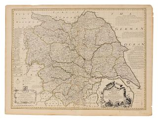BOWEN, Emanuel (1694?-1767) An Accurate Map of the County of York Divided into its Ridings and Subdivided into Wapontakes. Lo