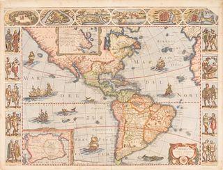 JANSSON, Joannes (1588-1664) and Jodocus HONDIUS (1563-1612).  America noviter delineata. [Amsterdam, ca 1632].