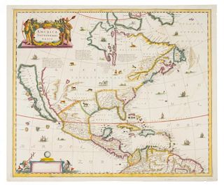 HONDIUS, Henricus (1597-1651). America Septentrionalis. [Amsterdam: Jan Jansson, 1639]. FIRST STATE of Hondius' map w/o text