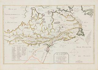 """DU VAL, Pierre-CHAMPLAIN, Samuel de. Le Canafa faicit par le Sr. de Champlain...Paris, c.1664.  Burden's State 4, with """"ou Na"""