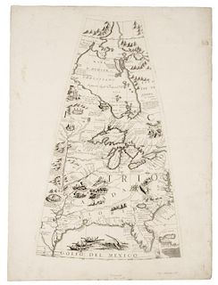 CORONELLI, Vincenzo Maria . [Globe Gore of North America, including  Great Lakes,  Chesapeake Bay, and Gulf of Mexico. [Venic