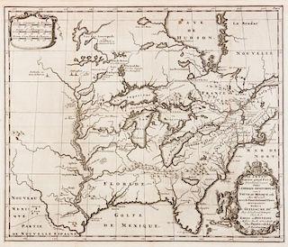 HENNEPIN, Louis (1640-1705?) Carte d'un tres grand pais nouvellement d'ecouvert dans l'Amerique Septentrionale. Leiden, 1704.