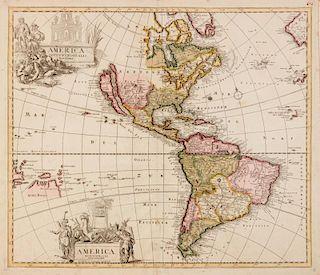 SCHENCK, Pieter (1645-1715) America Septentrionalis Novissima - America Meridionalis Accuratissima. Amsterdam, 1696.