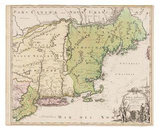 HOMANN, Johann Baptiste. Nova Anglia Septentrionali Americae implantata Anglorumique coloniis florentissima. Nuremberg, ca 17
