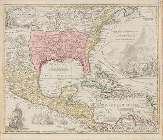 HOMANN, Johann Baptiste. Regni Mexicani Seu Novae Hispaniae Ludovicianai, N. Angliae Carolinae, Virginiae, et Pennslyvaniae.