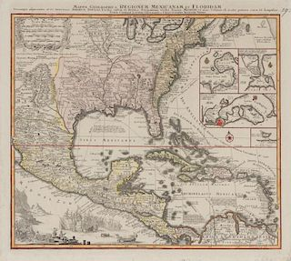 LOTTER, Tobias Conrad (1717-1777) Mappa geographica regionem Mexicanam et Floridam. [Augsburg, after 1740].