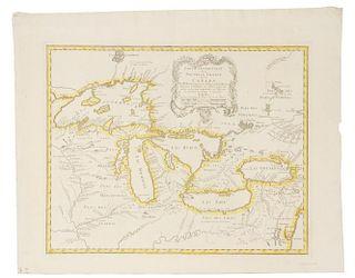 BELLIN, Jacques Nicholas (1703-1772).  Partie Occidentale de la Nouvelle France ou du Canada. Nuremberg: Homann Heirs, 1755.