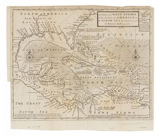 MOLL, Herman (1654-1732) A Chart of ye West-Indies or the Islands of America in the North Sea &c. London, ca 1740.
