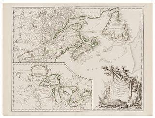 ROBERT DE VAUGONDY, Didier. Partie De l'Amerique Septent? qui comprend La Nouvelle France ou Le Canada. Paris, 1755. 1st Ed.