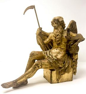 A 18th Century Renaissance Gold Gilded Wooden Sculpture of Father Time
