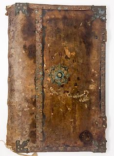 A 16th Century Renaissance Brass-Mounted Leather Book Cover
